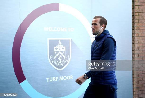 Harry Kane of Tottenham Hotspur arrives prior to the Premier League match between Burnley FC and Tottenham Hotspur at Turf Moor on February 23 2019...