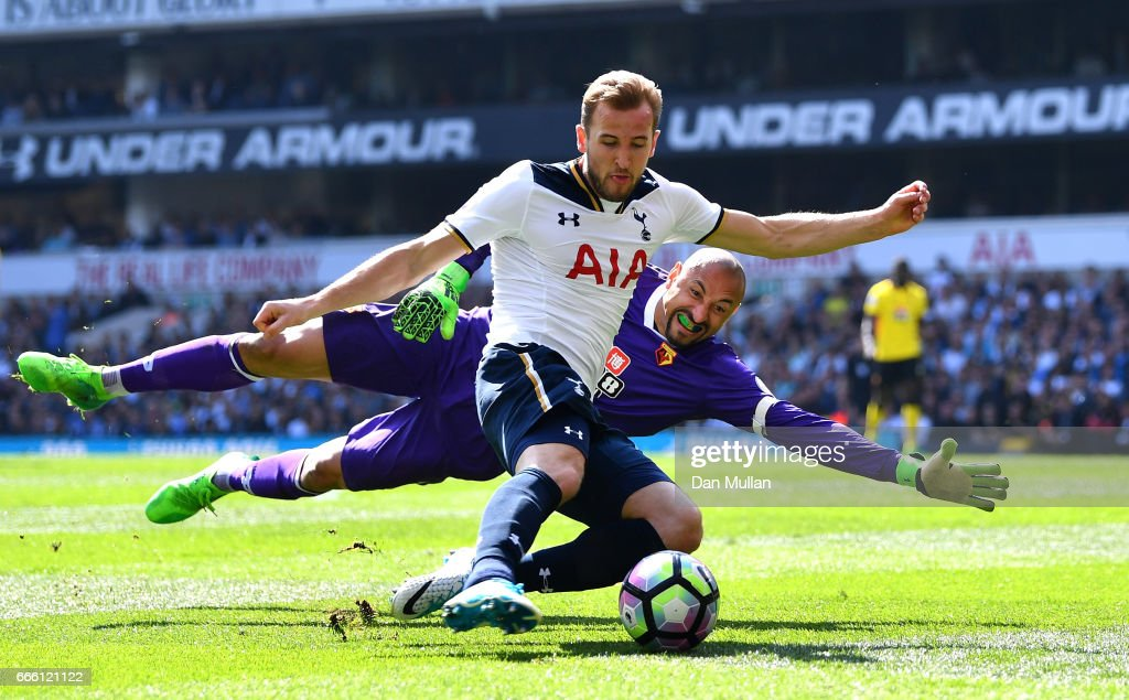 Harry Kane of Tottenham Hotspur attempts to score past Heurelho Gomes of Watford during the Premier League match between Tottenham Hotspur and Watford at White Hart Lane on April 8, 2017 in London, England.