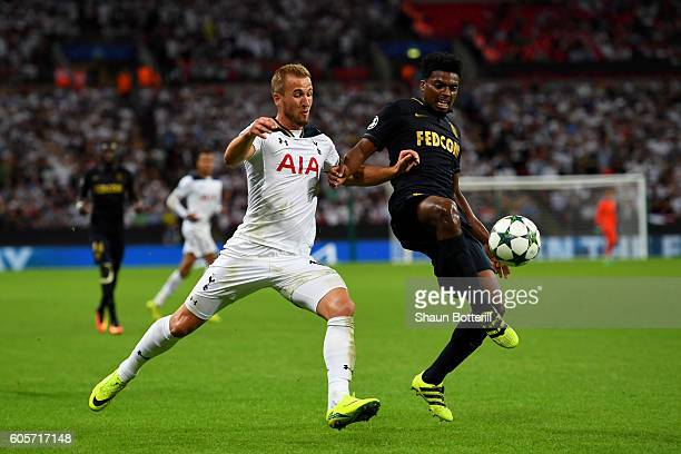 Harry Kane of Tottenham Hotspur battles for the ball with Jemerson of AS Monaco during the UEFA Champions League match between Tottenham Hotspur FC...