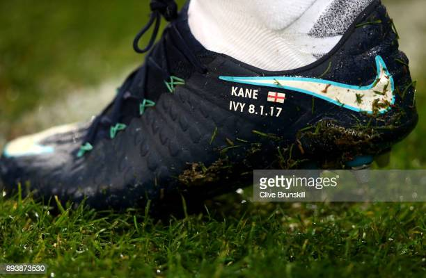 Harry Kane of Tottenham Hotspur boot is seen prior to during the Premier League match between Manchester City and Tottenham Hotspur at Etihad Stadium...