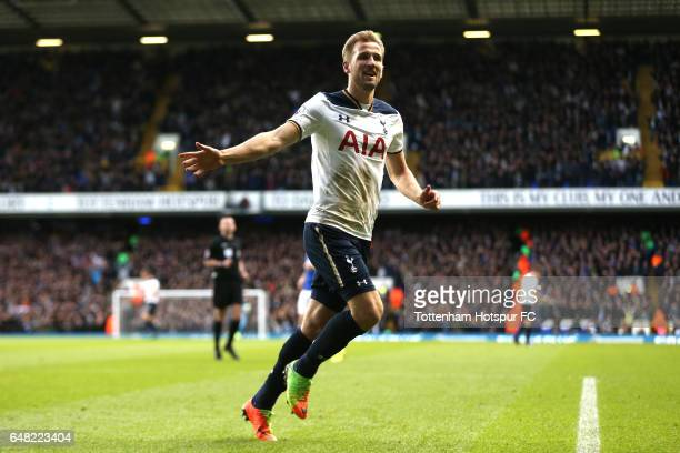Harry Kane of Tottenham Hotspur celebrates after he scores his and his sides second goal during the Premier League match between Tottenham Hotspur...