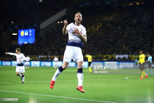 Harry Kane of Tottenham Hotspur celebrates after he scores his sides first goal during the UEFA Champions League Round of 16 Second Leg match between...