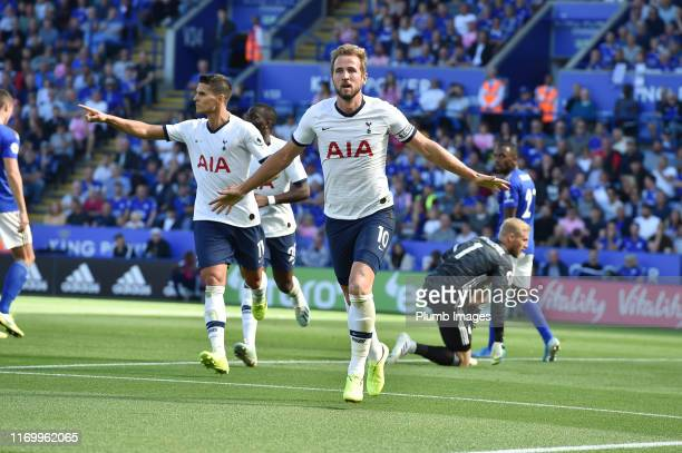 Harry Kane of Tottenham Hotspur celebrates after putting his team 10 ahead during the Premier League match between Leicester City and Tottenham...