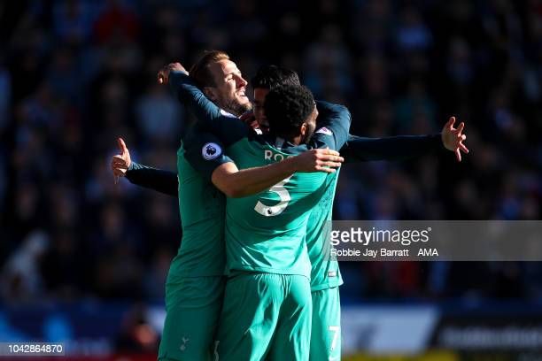 Harry Kane of Tottenham Hotspur celebrates after scoring a goal to make it 02 during the Premier League match between Huddersfield Town and Tottenham...