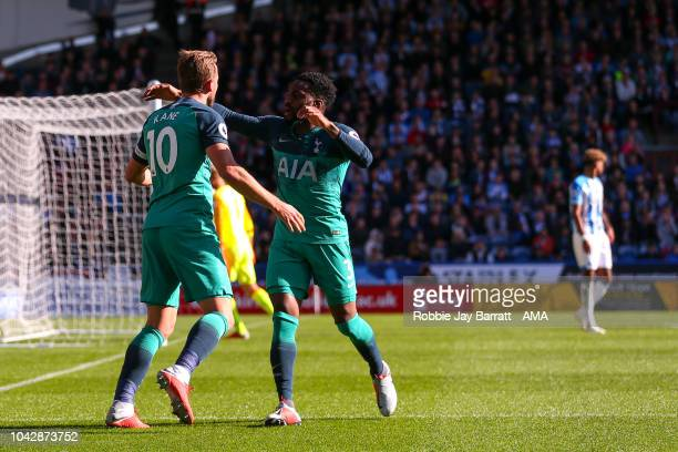 Harry Kane of Tottenham Hotspur celebrates after scoring a goal to make it 01 during the Premier League match between Huddersfield Town and Tottenham...