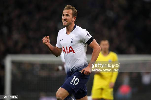 Harry Kane of Tottenham Hotspur celebrates after scoring a goal to make it 20 during the Premier League match between Tottenham Hotspur and Chelsea...