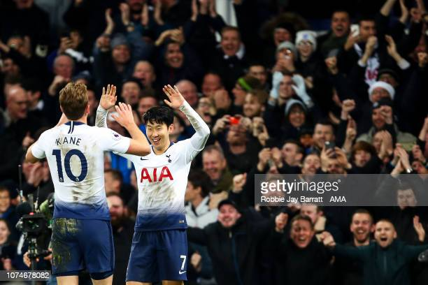 Harry Kane of Tottenham Hotspur celebrates after scoring a goal to make it 26 during the Premier League match between Everton FC and Tottenham...