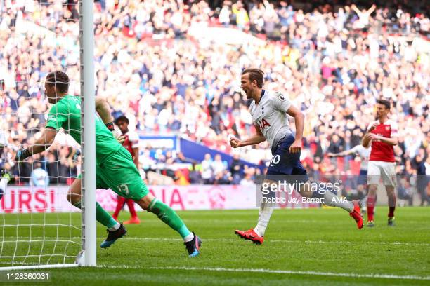 Harry Kane of Tottenham Hotspur celebrates after scoring a goal to make it 11 during the Premier League match between Tottenham Hotspur and Arsenal...
