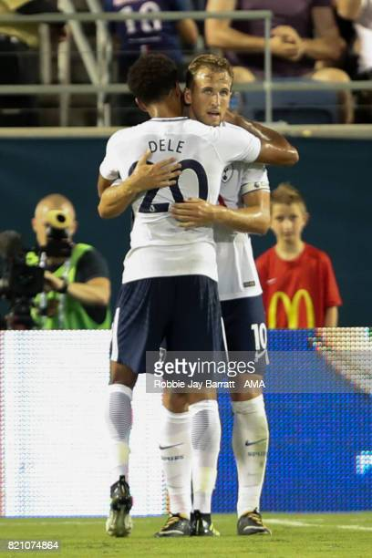 Harry Kane of Tottenham Hotspur celebrates after scoring a goal to make it 23 during the International Champions Cup match between Paris SaintGermain...