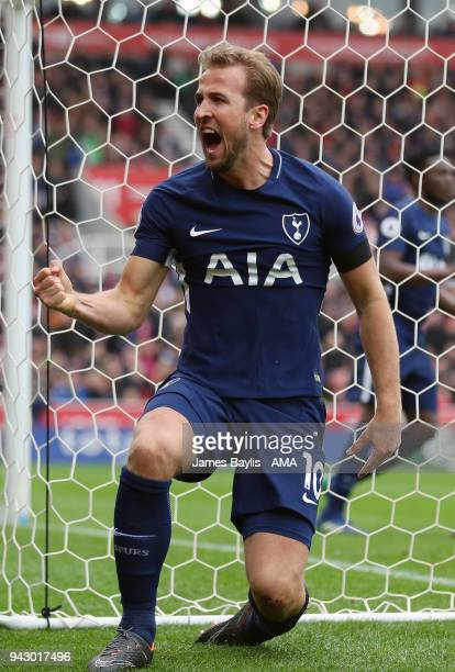 Harry Kane of Tottenham Hotspur celebrates after scoring a goal to make it 12 during the Premier League match between Stoke City and Tottenham...