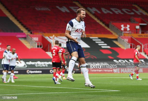 Harry Kane of Tottenham Hotspur celebrates after scoring a goal which is then disallowed following a VAR review during the Premier League match...