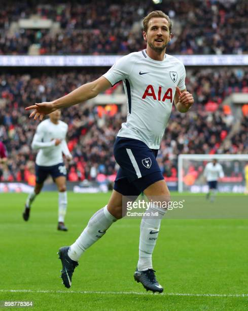 Harry Kane of Tottenham Hotspur celebrates after scoring his hattrick goal to make it 51 during the Premier League match between Tottenham Hotspur...