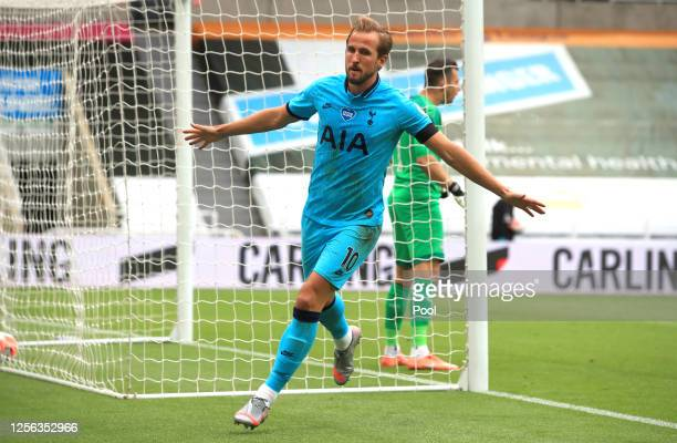 Harry Kane of Tottenham Hotspur celebrates after scoring his sides second goal during the Premier League match between Newcastle United and Tottenham...