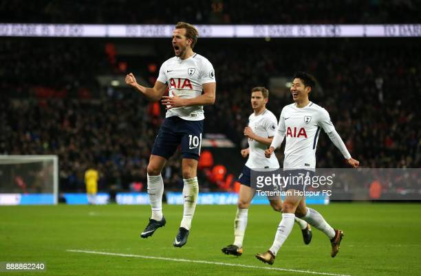 Harry Kane of Tottenham Hotspur celebrates after scoring his sides third goal during the Premier League match between Tottenham Hotspur and Stoke...