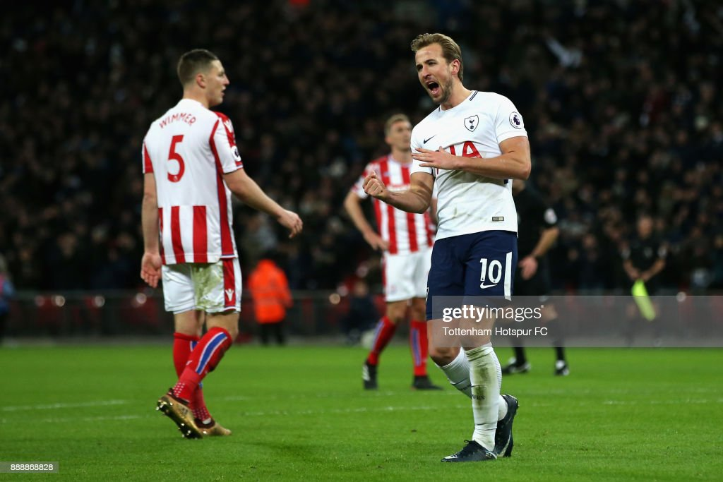 Harry Kane of Tottenham Hotspur celebrates after scoring his sides fourth goal during the Premier League match between Tottenham Hotspur and Stoke City at Wembley Stadium on December 9, 2017 in London, England.