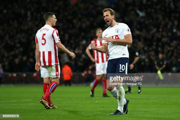 Harry Kane of Tottenham Hotspur celebrates after scoring his sides fourth goal during the Premier League match between Tottenham Hotspur and Stoke...