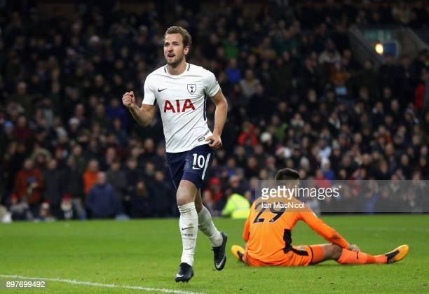 Harry Kane of Tottenham Hotspur celebrates after scoring his sides second goal during the Premier League match between Burnley and Tottenham Hotspur...