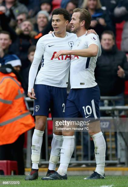 Harry Kane of Tottenham Hotspur celebrates after scoring his sides fifth goal with Dele Alli of Tottenham Hotspur during the Premier League match...