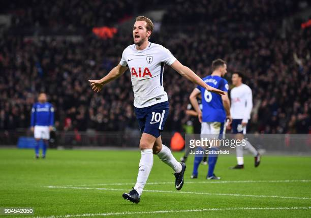 Harry Kane of Tottenham Hotspur celebrates after scoring his sides third goal during the Premier League match between Tottenham Hotspur and Everton...