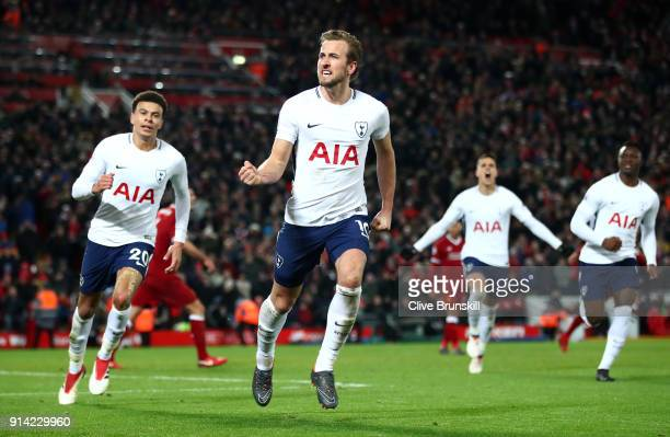 Harry Kane of Tottenham Hotspur celebrates after scoring his sides second goal and his 100th Premier League goal during the Premier League match...