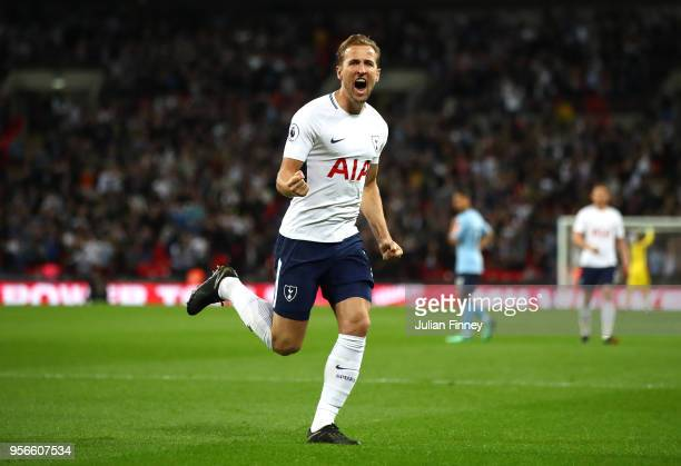 Harry Kane of Tottenham Hotspur celebrates after scoring his sides first goal during the Premier League match between Tottenham Hotspur and Newcastle...
