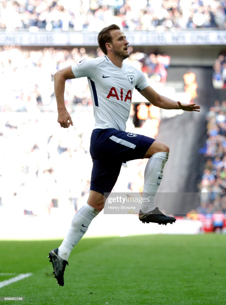 Harry Kane of Tottenham Hotspur celebrates after scoring his sides 5th goal during the Premier League match between Tottenham Hotspur and Leicester City at Wembley Stadium on May 13, 2018 in London, England.