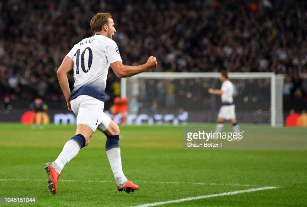 Harry Kane of Tottenham Hotspur celebrates after scoring his team's first goal during the Group B match of the UEFA Champions League between...