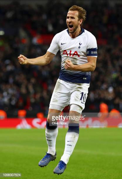 Harry Kane of Tottenham Hotspur celebrates after scoring his team's second goal during the Group B match of the UEFA Champions League between...