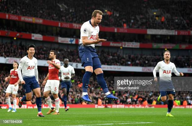 Harry Kane of Tottenham Hotspur celebrates after scoring his team's second goal during the Premier League match between Arsenal FC and Tottenham...