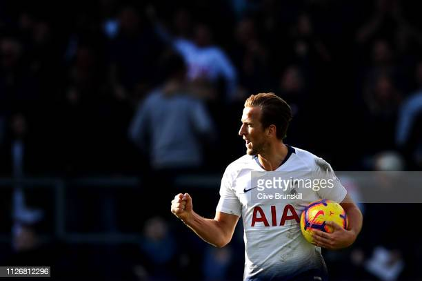 Harry Kane of Tottenham Hotspur celebrates after scoring his team's first goal during the Premier League match between Burnley FC and Tottenham...