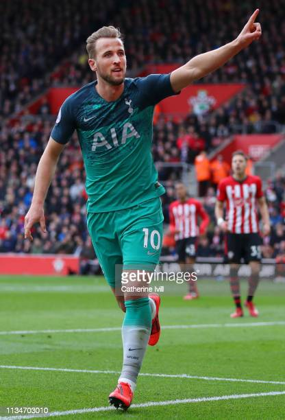 Harry Kane of Tottenham Hotspur celebrates after scoring his team's first goal during the Premier League match between Southampton FC and Tottenham...