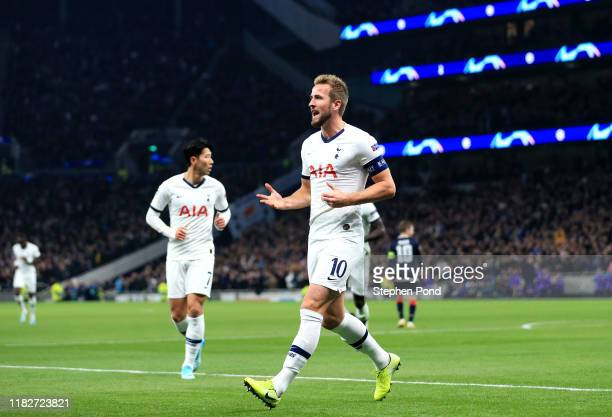 Harry Kane of Tottenham Hotspur celebrates after scoring his team's first goal during the UEFA Champions League group B match between Tottenham...