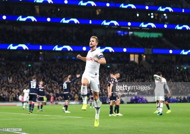 Harry Kane of Tottenham Hotspur celebrates after scoring his team's fifth goal during the UEFA Champions League group B match between Tottenham...