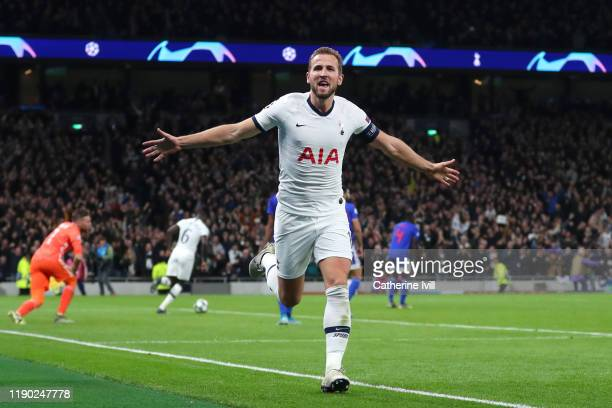 Harry Kane of Tottenham Hotspur celebrates after scoring his team's fourth goal during the UEFA Champions League group B match between Tottenham...