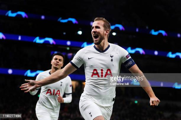 Harry Kane of Tottenham Hotspur celebrates after scoring his team's second goal during the UEFA Champions League group B match between Tottenham...