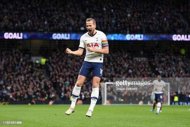 Harry Kane of Tottenham Hotspur celebrates after scoring his team's first goal during the Premier League match between Tottenham Hotspur and Burnley...