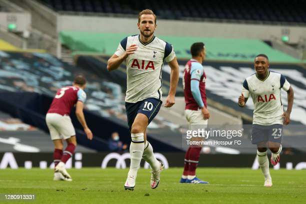 Harry Kane of Tottenham Hotspur celebrates after scoring his team's second goal during the Premier League match between Tottenham Hotspur and West...