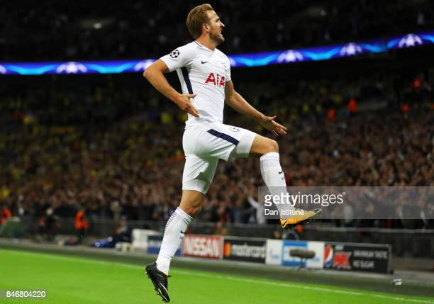 Harry Kane of Tottenham Hotspur celebrates after scoring his team's third goal during the UEFA Champions League group H match between Tottenham...
