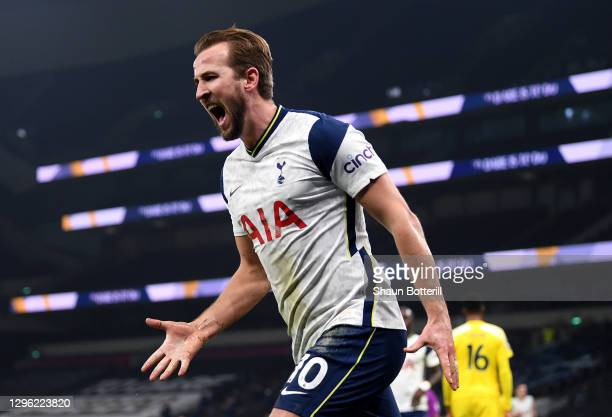 Harry Kane of Tottenham Hotspur celebrates after scoring the first goal during the Premier League match between Tottenham Hotspur and Fulham at...