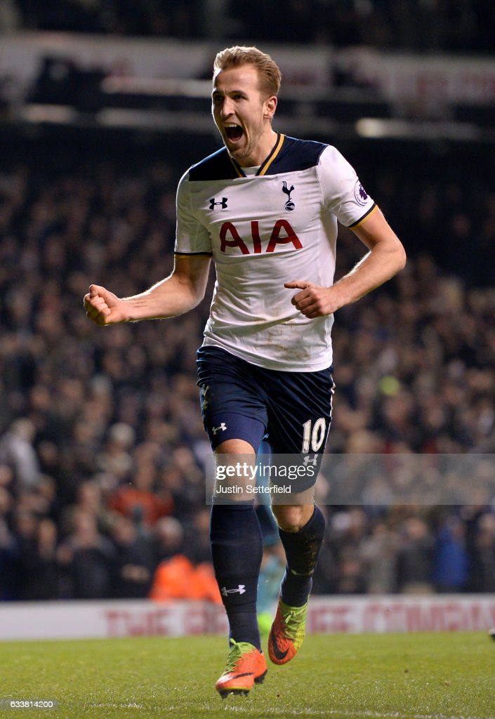 Harry Kane of Tottenham Hotspur celebrates after scoring the opening goal from the penalty spot during the Premier League match between Tottenham Hotspur and Middlesbrough at White Hart Lane on February 4, 2017 in London, England.