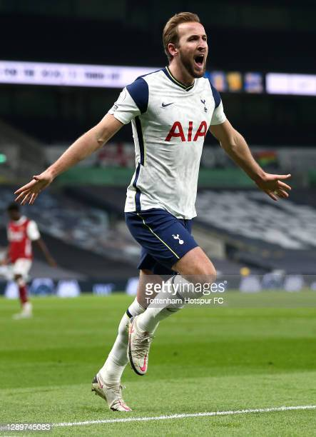 Harry Kane of Tottenham Hotspur celebrates after scoring their sides second goal during the Premier League match between Tottenham Hotspur and...