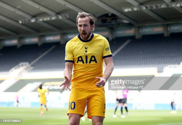 Harry Kane of Tottenham Hotspur celebrates after scoring their side's second goal during the Premier League match between Newcastle United and...