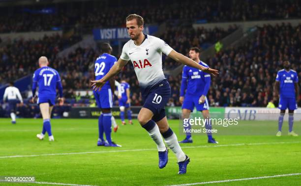 Harry Kane of Tottenham Hotspur celebrates as he scores his team's first goal during the Premier League match between Cardiff City and Tottenham...
