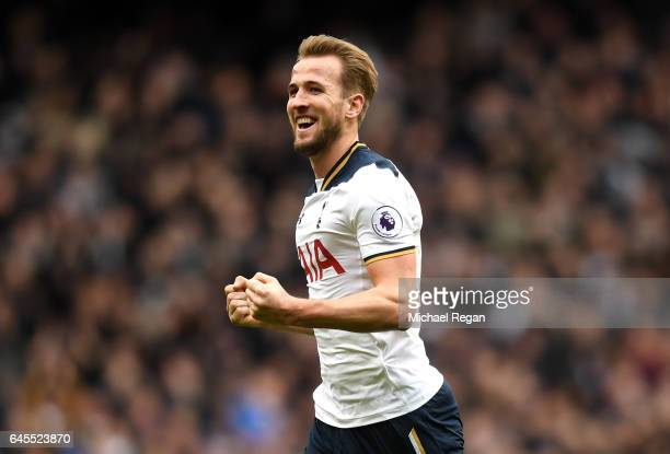 Harry Kane of Tottenham Hotspur celebrates as he scores his teams third goal and completes his hattrick during the Premier League match between...