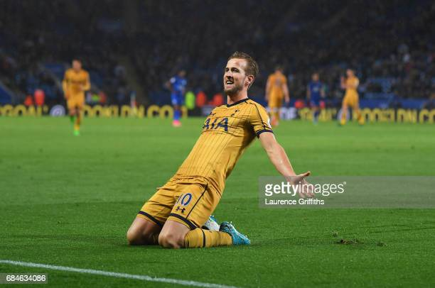 Harry Kane of Tottenham Hotspur celebrates as he scores their fifth goal and completes his hat trick during the Premier League match between...