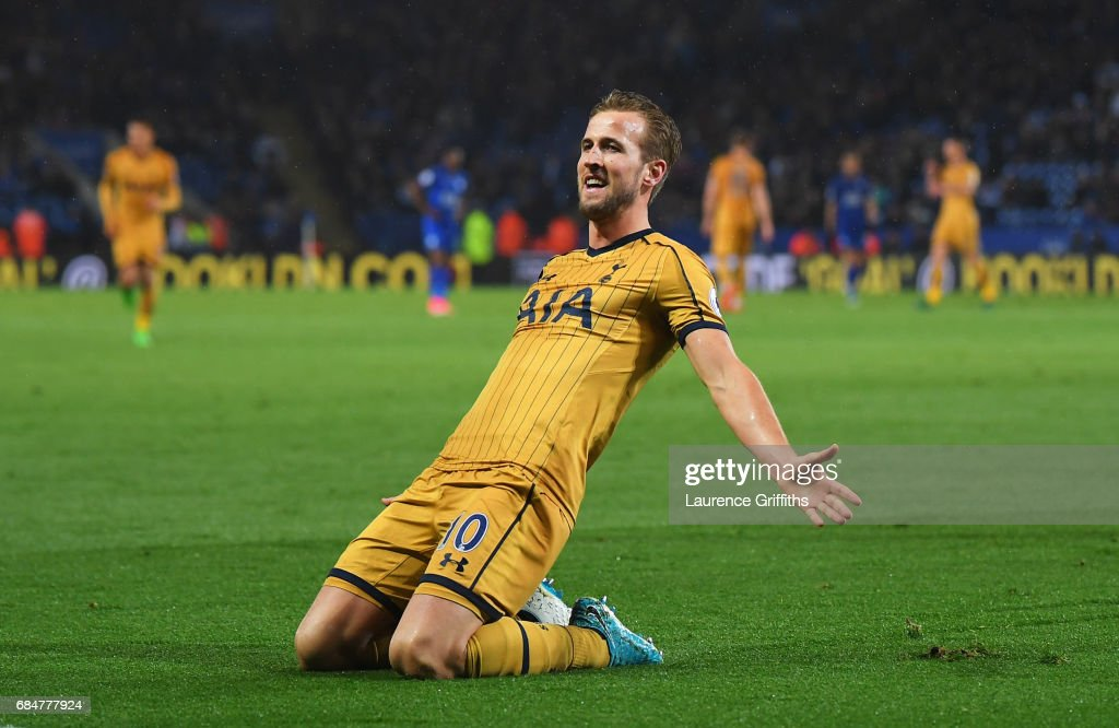Harry Kane of Tottenham Hotspur celebrates as he scores their fifth goal and completes his hat trick during the Premier League match between Leicester City and Tottenham Hotspur at The King Power Stadium on May 18, 2017 in Leicester, England.