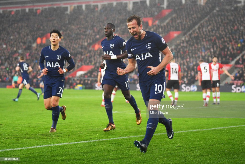 Harry Kane of Tottenham Hotspur (10) celebrates as he scores their first goal during the Premier League match between Southampton and Tottenham Hotspur at St Mary's Stadium on January 21, 2018 in Southampton, England.