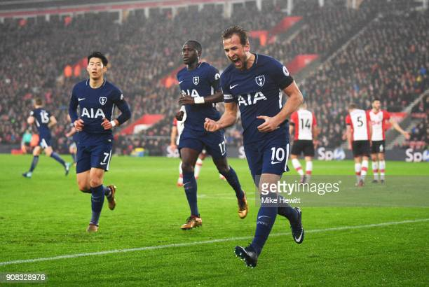 Harry Kane of Tottenham Hotspur celebrates as he scores their first goal during the Premier League match between Southampton and Tottenham Hotspur at...