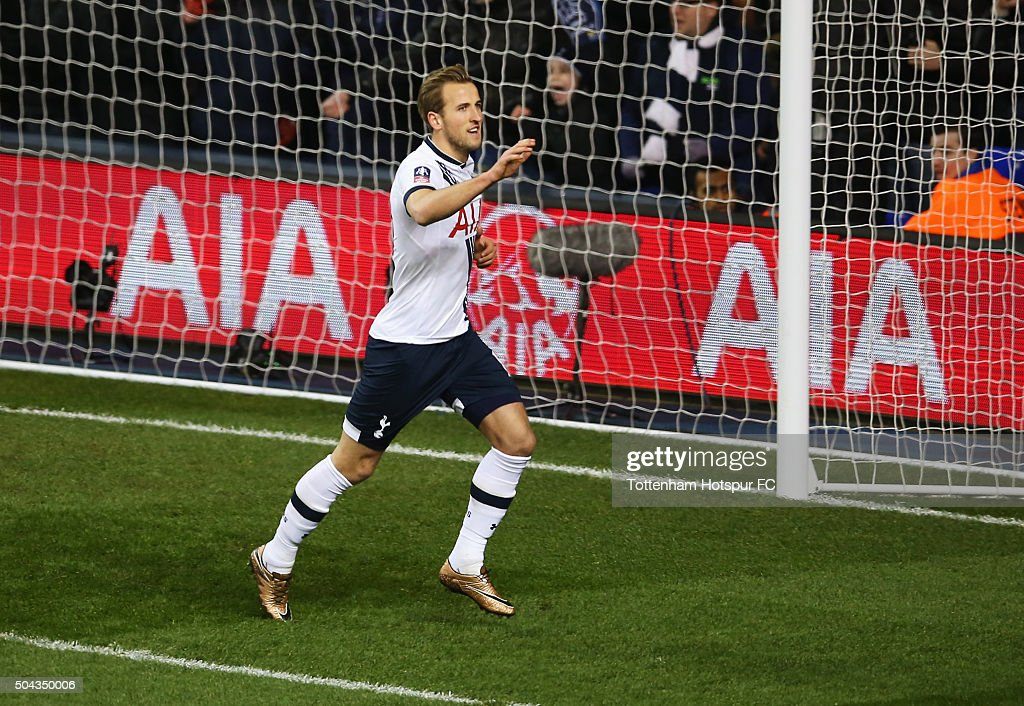 Harry Kane of Tottenham Hotspur celebrates as he scores their second goal from a penalty during the Emirates FA Cup third round match between Tottenham Hotspur and Leicester City at White Hart Lane on January 10, 2016 in London, England.
