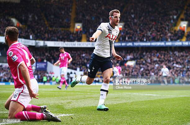 Harry Kane of Tottenham Hotspur celebrates as he scores their second goal during the Barclays Premier League match between Tottenham Hotspur and AFC...